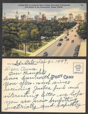 Old Florida Postcard - Tampa - Lafayette Street, University