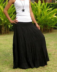 Long * Womens Skirt * Crinkle *Wrinkle *Tiered*Boho*Gypsy*Hippie*Cotton*SL001-U