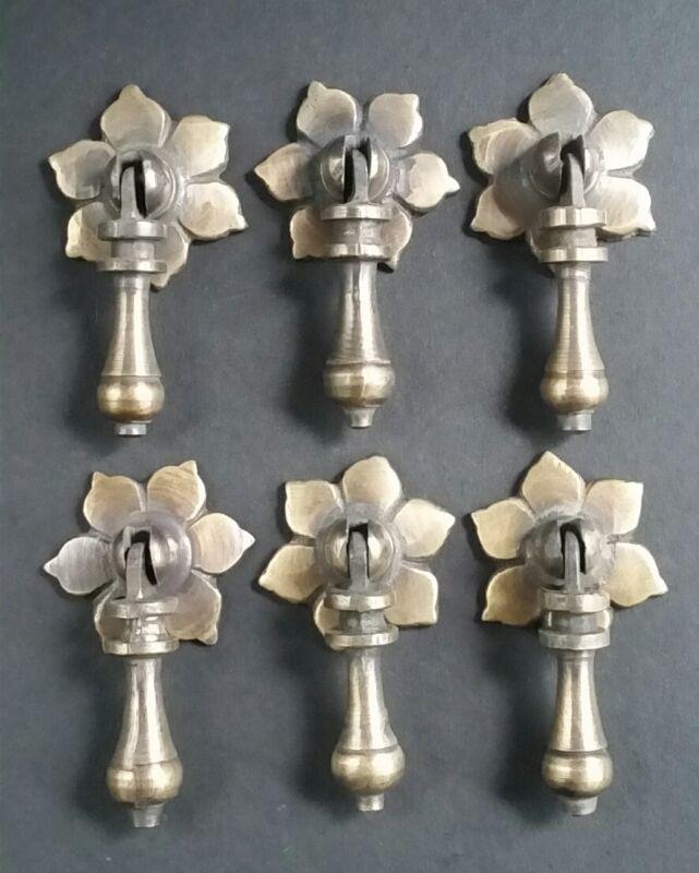 """6 Antique Tear Drop Pendant Brass Handle Pulls w. screws Floral Back 2-1/2""""l #H4"""