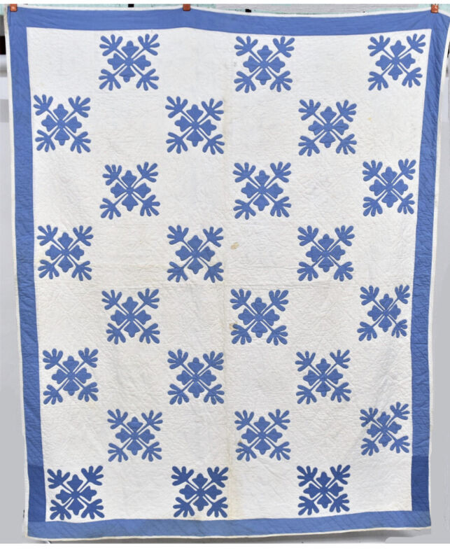 1870-90 Antique Blue And White Floral/Snowflake Quilt
