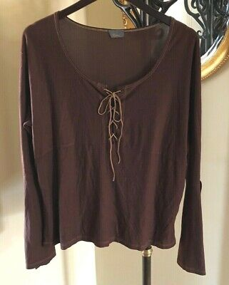 ⛵️ HIATUS Brown Bell Sleeve Split Cuff Faux Suede Lace-Up Top L / XL