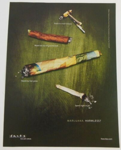 Marijuana Anti-Drug Print Ad Poster Art PROMO Official Free Vibe Facts Freevibe