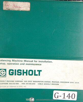 Gisholt 1sv1 Balancing Machine Operator Installation Maintenance Manual 1962