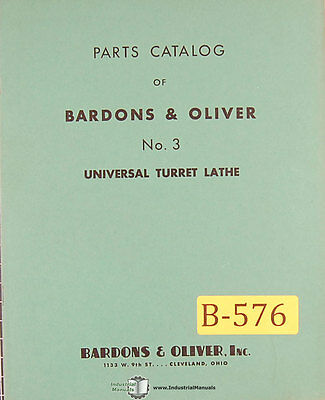 Bardons Oliver No. 3 Turret Lathe Parts Manual 1941