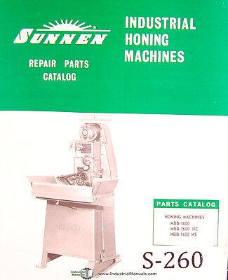 Sunnen Mbb 1600 Jic Ms Honing Machine Repair Parts Manual