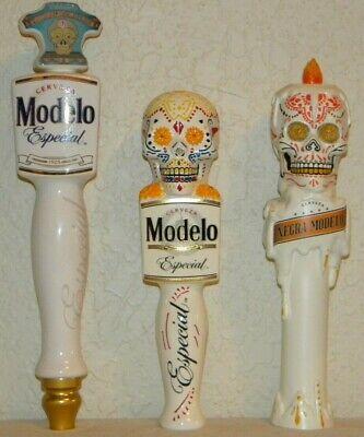 LOT 3 WHITE Cerveza Modelo Especial El  Dia De Los Muertos Beer Tap Handle Negra