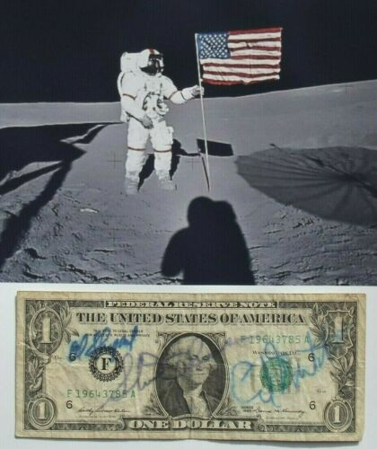 Apollo 14 Crew Signed Currency Shepard, Roosa & Mitchell Authenticated Zarelli