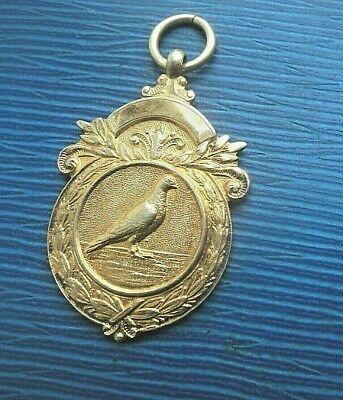 Vintage Sterling Silver GILT Fob Medal h/m 1949 Racing Pigeon - Portland