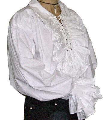 NEW Men's Cotton Goth/Pirate White Frill Cotton Shirt, XL