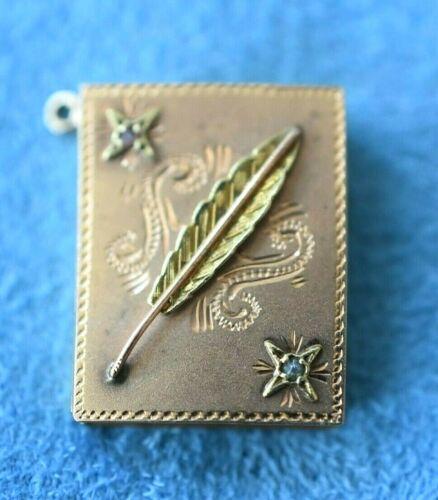 Antique Victorian 18K Tri Gold FEATHER Book Picture Locket Pendant Necklace