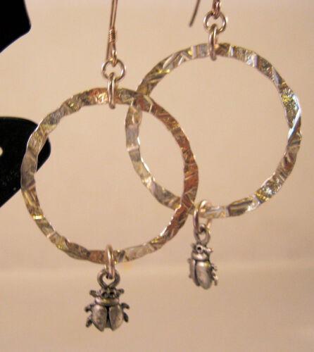 Lady Bug Earrings Sterling Silver & Pewter Drop or Dangle Style Fine Jewelry