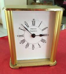 Vintage Tiffany & Co Portfolio Brass?  Desk Mantel Clock Roman Numeral