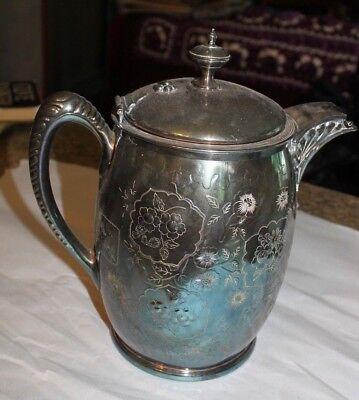 "Antique Meriden Silverplate water pitcher floral design 11"" tall - LOTLAV"