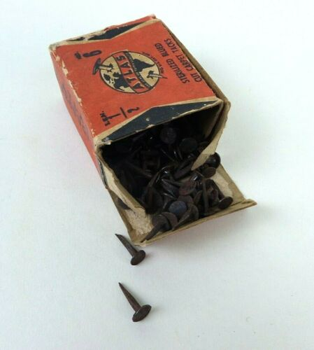 Vintage Atlas Brand Carpet Tacks Paper Box with No. 6 Tacks Red Box Advertising