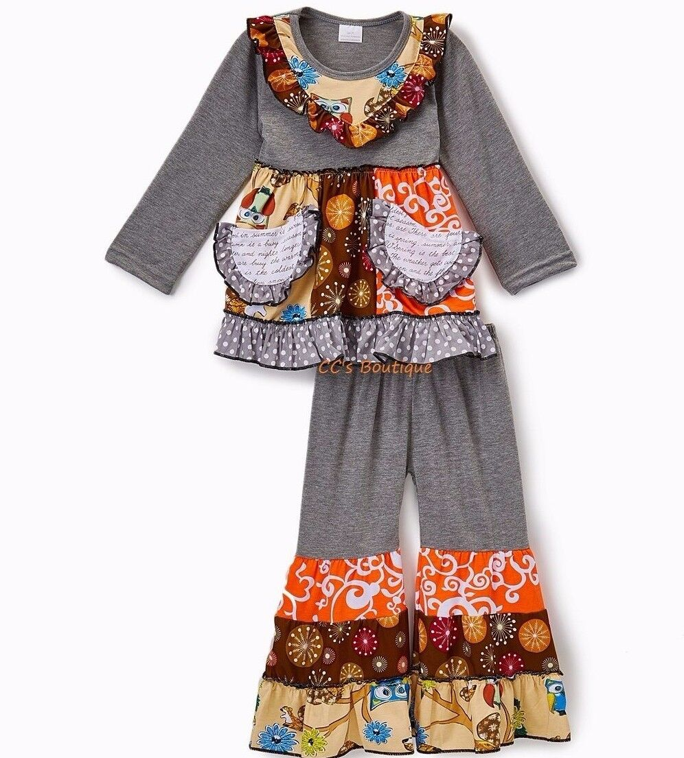Girls fall ruffle boutique outfit 3T NWT long t shirt gray o