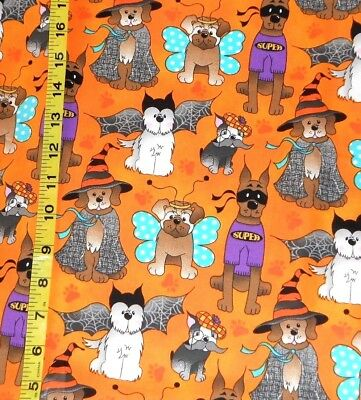 FABRIC - PATTY REED DOGS IN COSTUMES HALLOWEEN - 100% COTTON 1.25 YDS - CUTE!