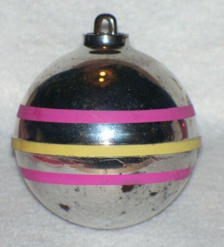 VINTAGE PLASTIC ATOMIC MID CENTURY  PINK STRIPE CHRISTMAS ORNAMENT