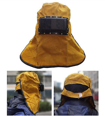 Leather Welder Welding Work Hood Leather Helmet Mask Filter Lens Face Protector