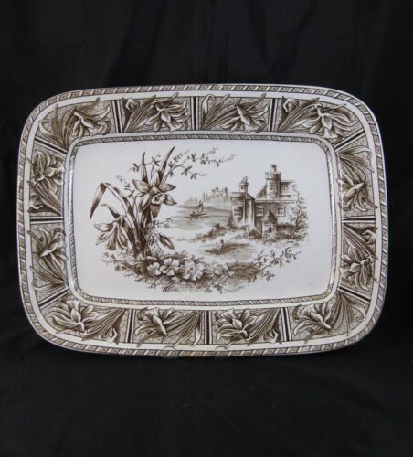 Large Victorian Aesthetic Brown Transferware Platter 1882