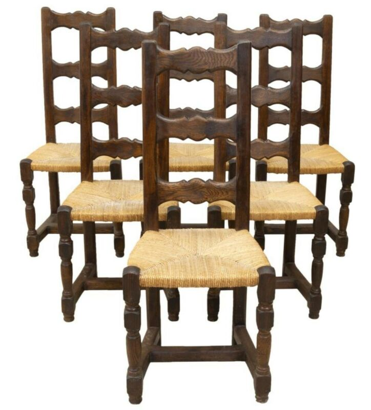 French Country Farmhouse Oak Dining Side Chairs W Rush Seats Set Of 6 Ebay