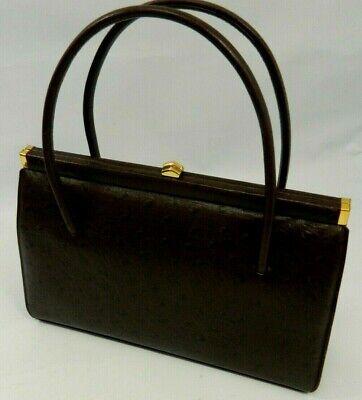 VINTAGE WALDYBAG LUXAN dark brown leather handbag with original mirror and purse