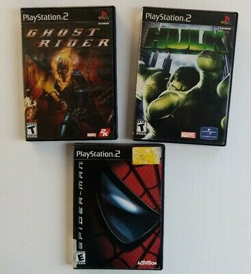 Spiderman Hulk Ghost Rider Sony Playstation 2 PS2 Video Game Bundle Lot Marvel