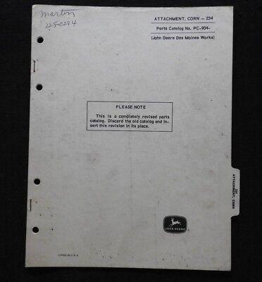 1964-67 John Deere 45 55 Combine 234 Corn Head Parts Catalog Manual Very Good