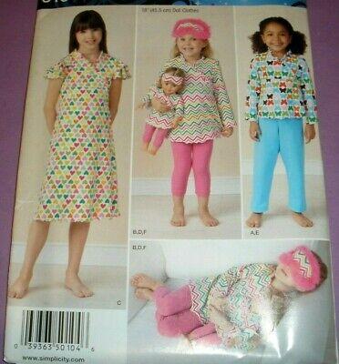 Mask Sewing Pattern (Simplicity Sewing Pattern 1511 Girls Pajamas Eye Mask Matching 18