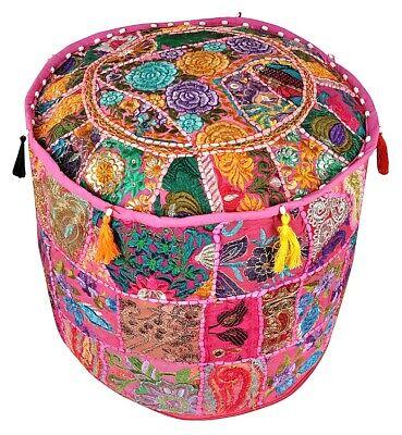 Reposapies Puf Handmade Marroquí Puf Cuero Otomano Poufe Parche Trabajo Handmade