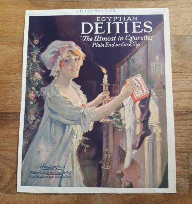 Vintage 1915 Egyptian Deities Cigarettes Christmas Ad From Magazine Color