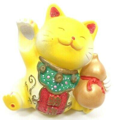 VINATGE 1980s WAVING CAT FIGURINE LUCKY CHARM YELLOW KAO MIAO CHUANG TAIWAN