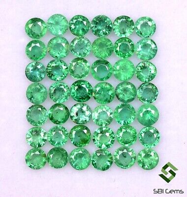 4.60 Cts Natural Emerald Round Cut 3 mm Lot 44 Pcs Untreated Green Gemstones