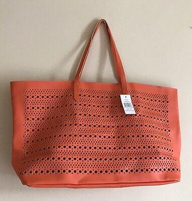 Saks 5th Ave Tote Bag Medium Size Faux Leather ORANGE #0217S GWP New