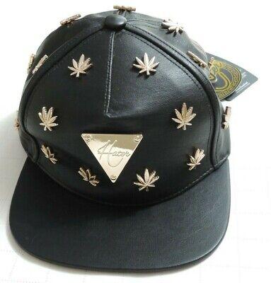 2013 Hater Snapback Leather BLACK & GOLD Cannabis WEED LEAF STUDS Buckleback HTF