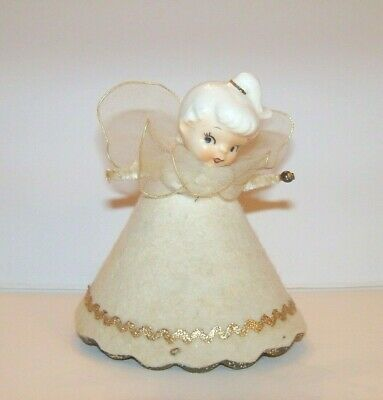 "Holt Howard Vintage Tulle Angel Christmas 3.75"" MINI TREE TOPPER, Porcelain Head"