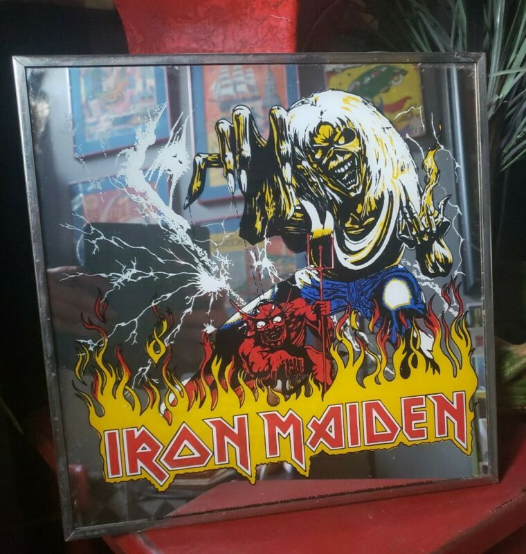 Iron Maiden Carnival Mirror Number Of The Beast 1982 Heavy Metal Art Shelf Wow!