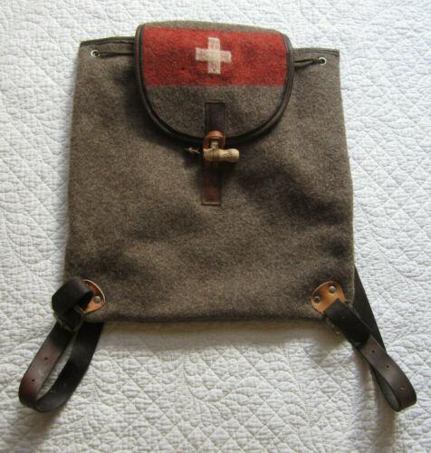 Karlen Torbel Swiss Vintage Rustic Brown Wool & Leather Drawstring Backpack
