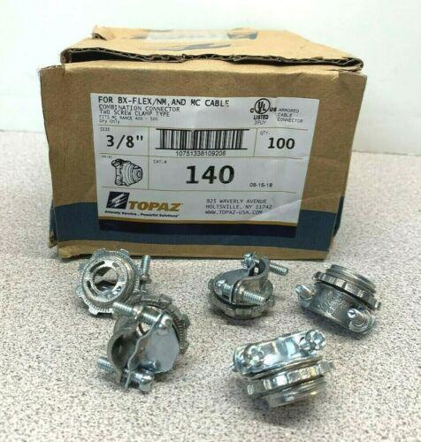 100 Cnt. Topaz 140 2-screw Clamp Combination Connector-BX-FLEX/NM & MC Cable(W)
