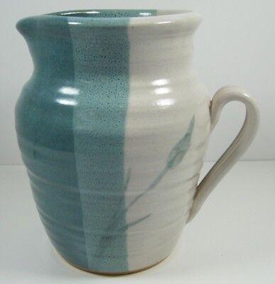 "Art Pottery Ceramic Glazed Teal Cream Pitcher Vase Signed 98 Ribbed Handle 7.5"""