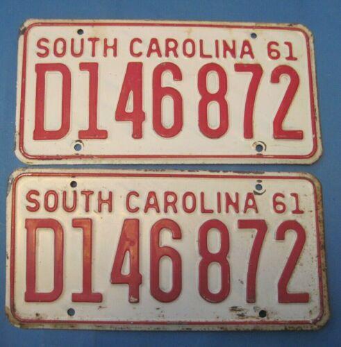 1961 South Carolina license plates matched pair