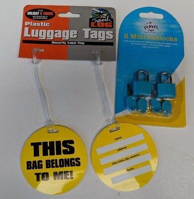 2 x Travel Suitcase Luggage Tags This Bag Belongs to me & 2 Blue Padlocks