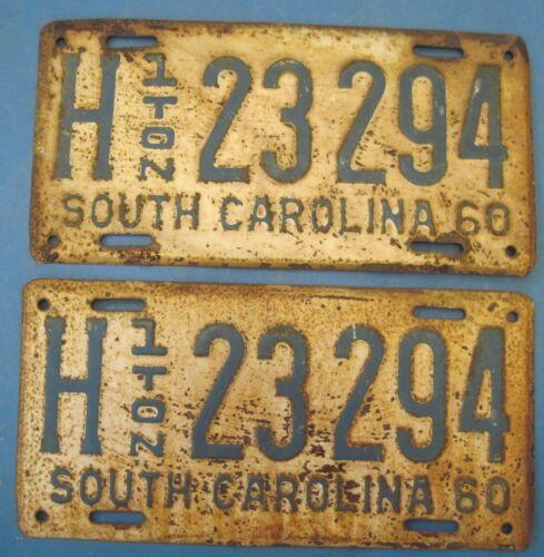 1960 South Carolina license plates matched pair 1 ton