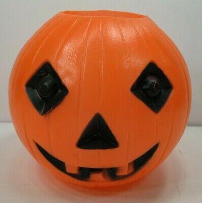 Vintage Halloween Blow Mold Pumpkin Jack-O-Lantern Treat Bucket Pail (A)