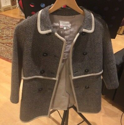 Kid by Phillip Lim Sz 9 Girls Twill Coat Jacket Gray, Buttons Cotton Wool Blend