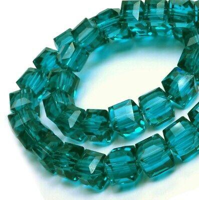 25 Glasperlen Würfel 4mm Petrol Grün Tschechische Kristall Perlen Schmuck X240