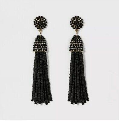Baulbebar Black Tassel Elegant Earrings Great For Prom Spring Formal - Elegant Black Tassel