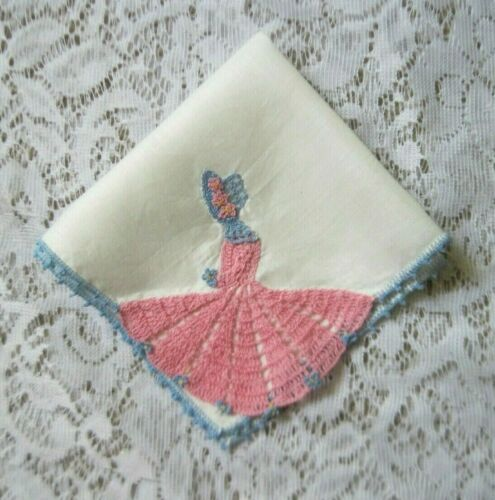 Vintage Linen Hanky with Crocheted Sunbonnet Gal on Corner~Pink & Blue