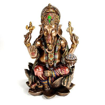"GANESHA STATUE 7"" Resin Bronze HIGH QUALITY Hindu Elephant God NEW Lord Ganesh"