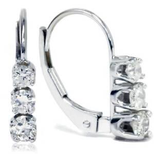 1 2ct 3 Stone Diamond Earrings 14k White Gold