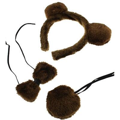 BROWN BEAR FANCY DRESS SET EARS HEADBAND TAIL BOW TIE KIT WORLD BOOK DAY ANIMAL